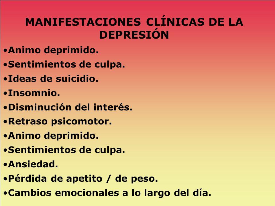 MANIFESTACIONES CLÍNICAS DE LA DEPRESIÓN