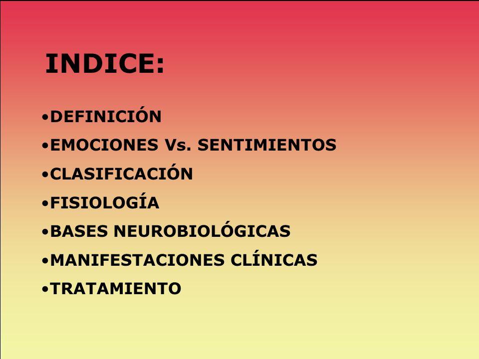 INDICE: DEFINICIÓN EMOCIONES Vs. SENTIMIENTOS CLASIFICACIÓN FISIOLOGÍA