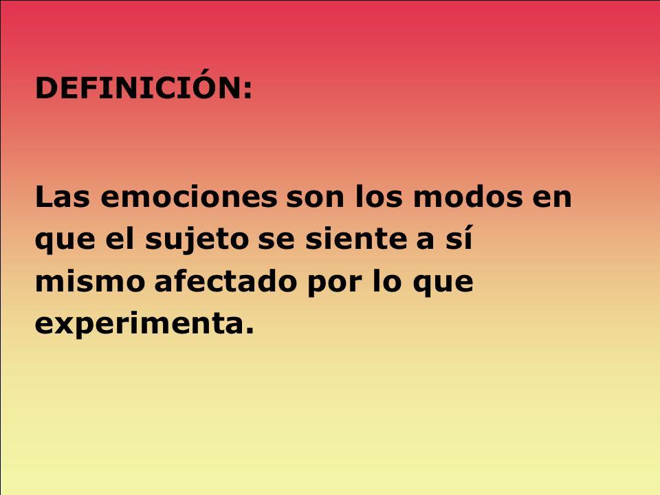 DEFINICIÓN:Las emociones son los modos en que el sujeto se siente a sí mismo afectado por lo que experimenta.