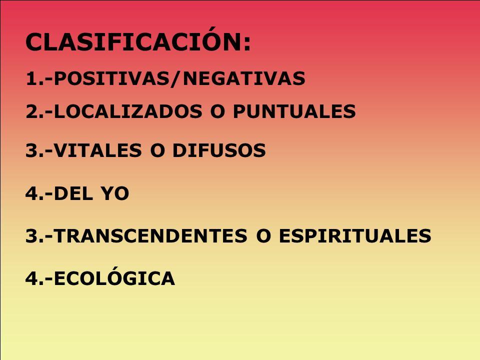 CLASIFICACIÓN: 1.-POSITIVAS/NEGATIVAS 2.-LOCALIZADOS O PUNTUALES