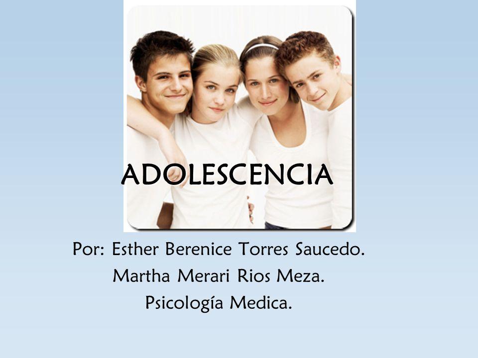 ADOLESCENCIA Por: Esther Berenice Torres Saucedo.