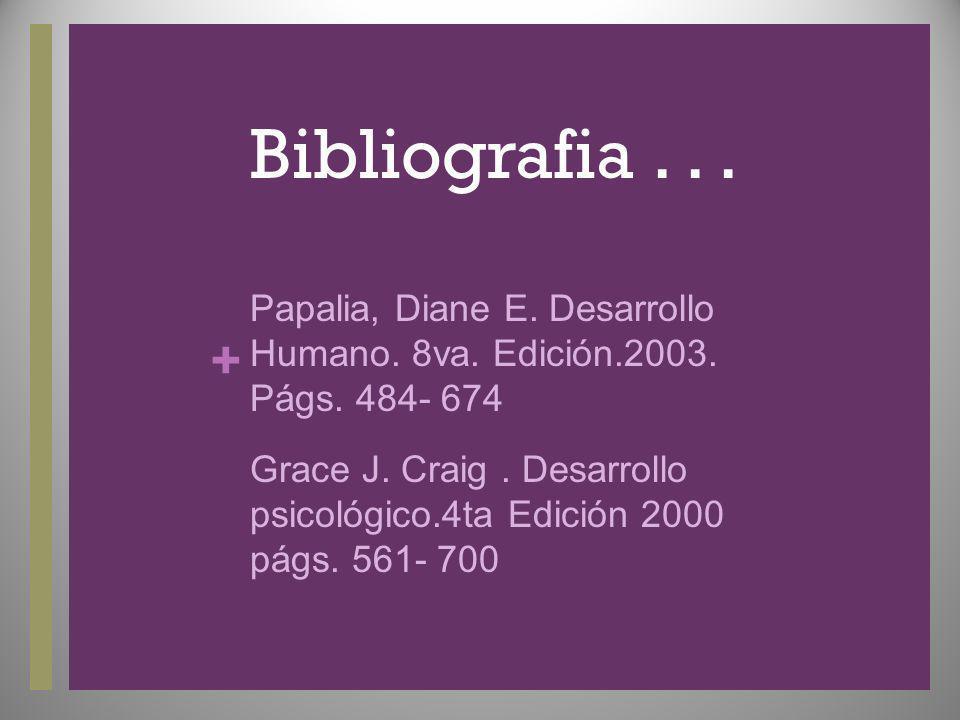 Bibliografia . . . Papalia, Diane E. Desarrollo Humano. 8va. Edición.2003. Págs. 484- 674.