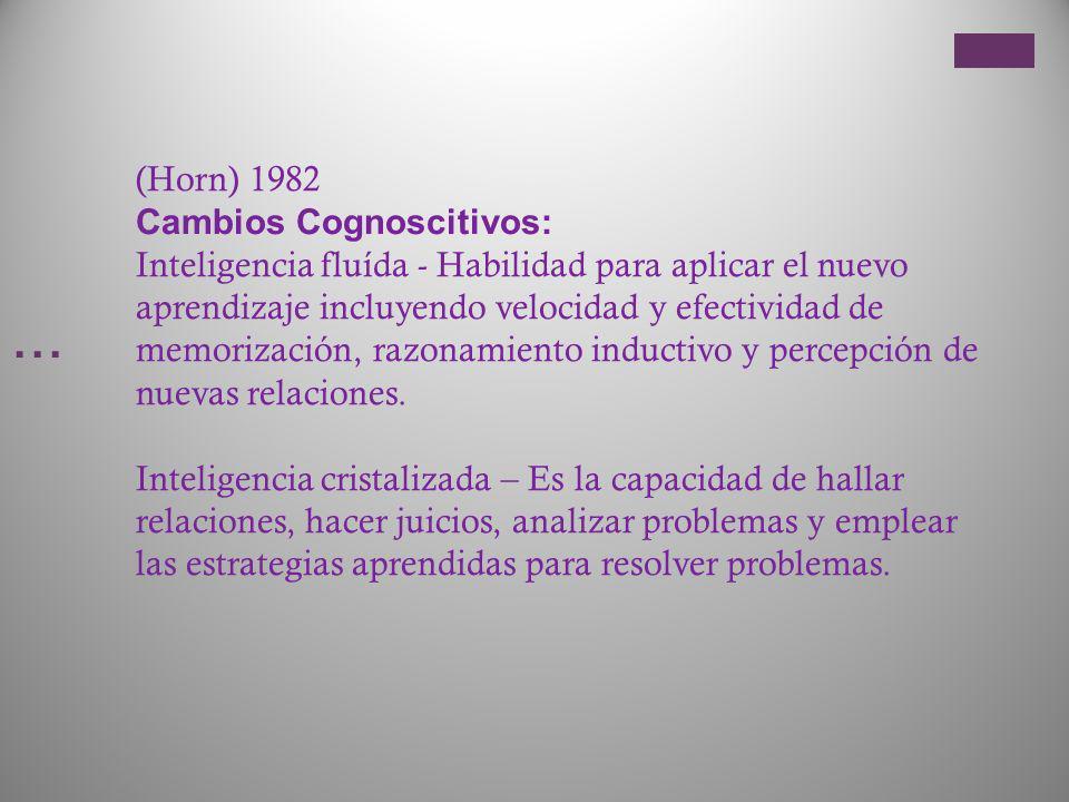 … (Horn) 1982 Cambios Cognoscitivos: