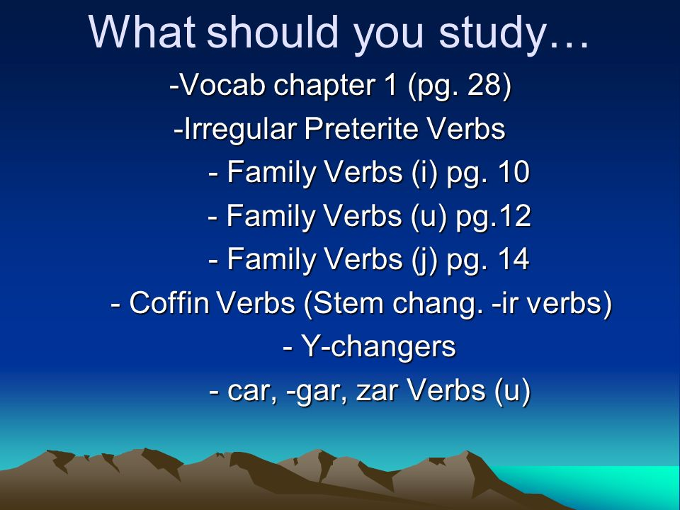 What should you study… -Vocab chapter 1 (pg. 28)