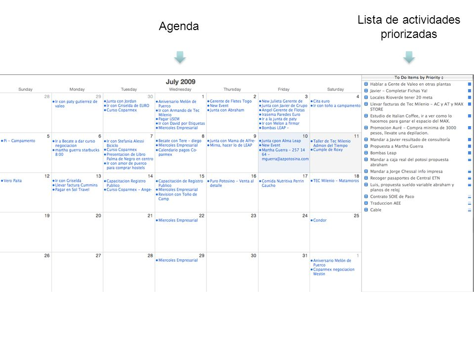 Lista de actividades priorizadas Agenda