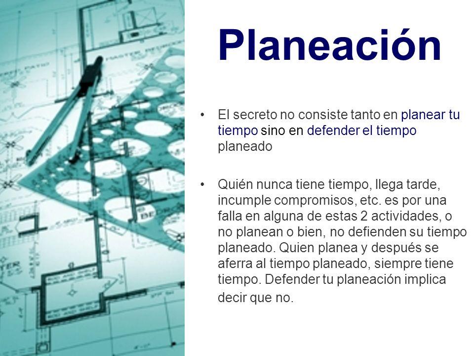 Planeación El secreto no consiste tanto en planear tu tiempo sino en defender el tiempo planeado.