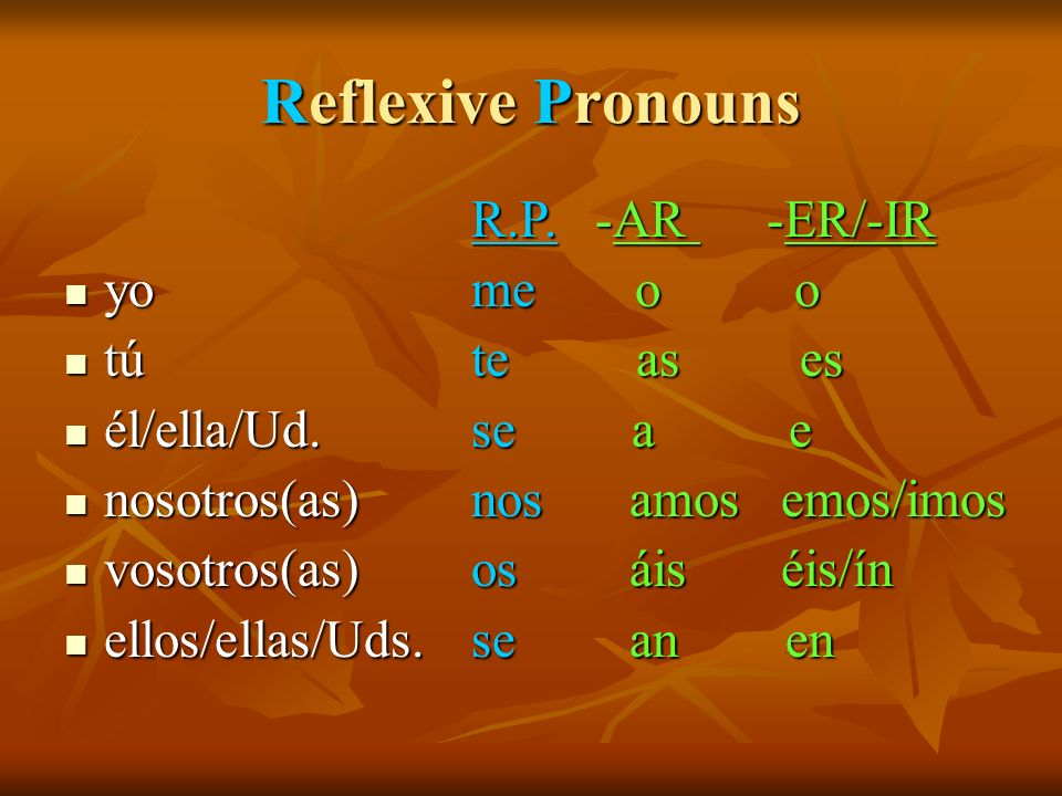Reflexive Pronouns -AR -ER/-IR yo o o tú as es él/ella/Ud. a e