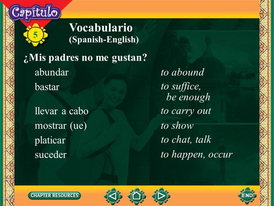 Vocabulario ¿Mis padres no me gustan abundar to abound bastar