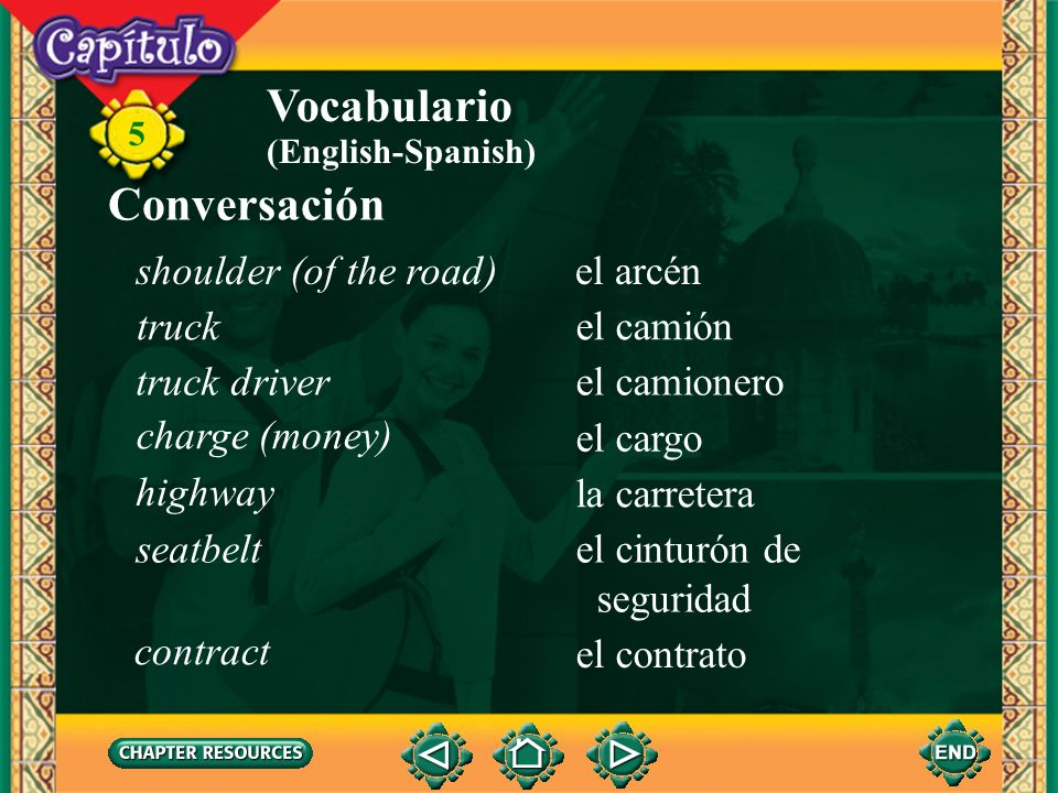Vocabulario Conversación shoulder (of the road) el arcén truck