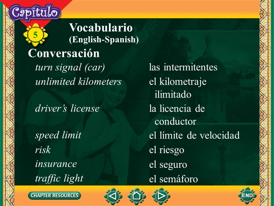 Vocabulario Conversación turn signal (car) las intermitentes