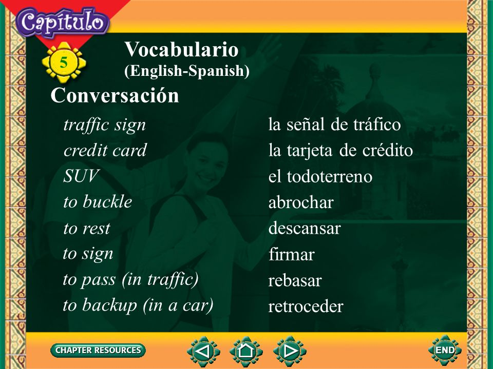 Vocabulario Conversación traffic sign la señal de tráfico credit card