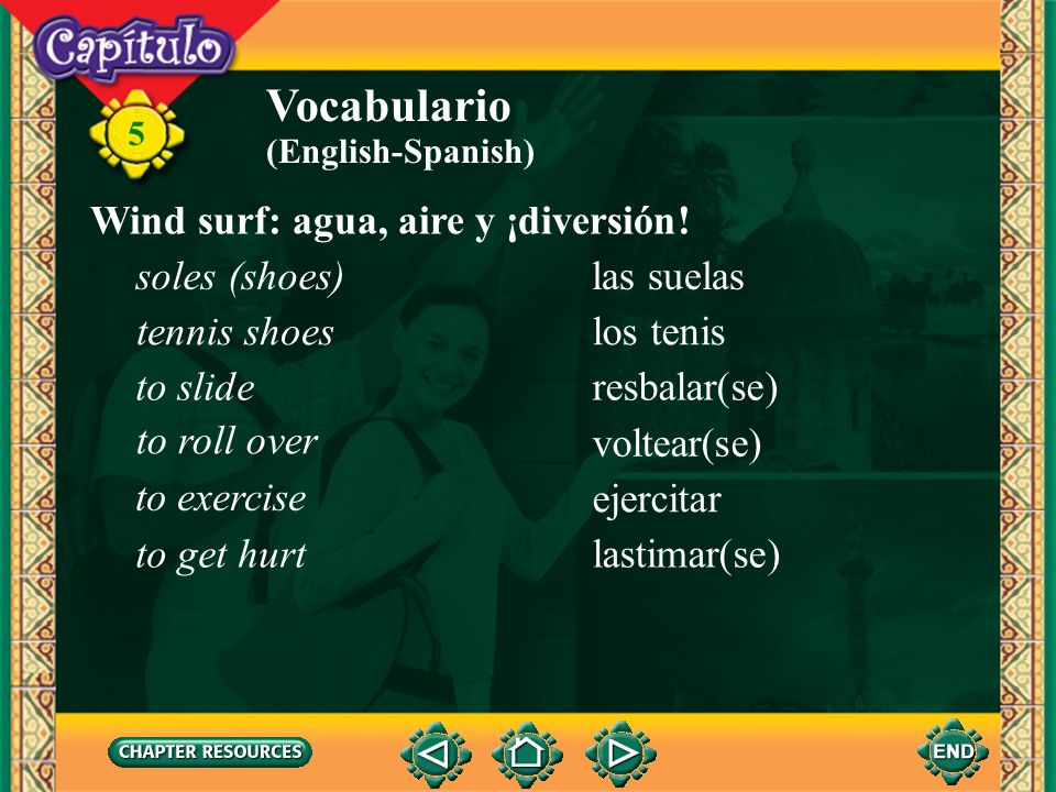Vocabulario Wind surf: agua, aire y ¡diversión! soles (shoes)