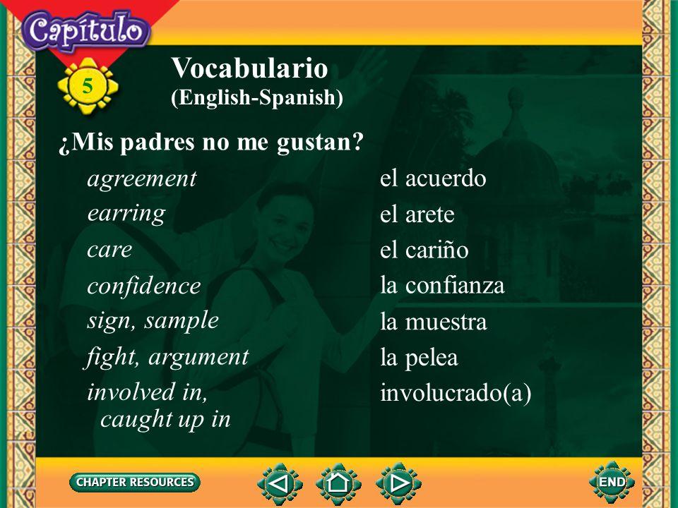 Vocabulario ¿Mis padres no me gustan agreement el acuerdo earring