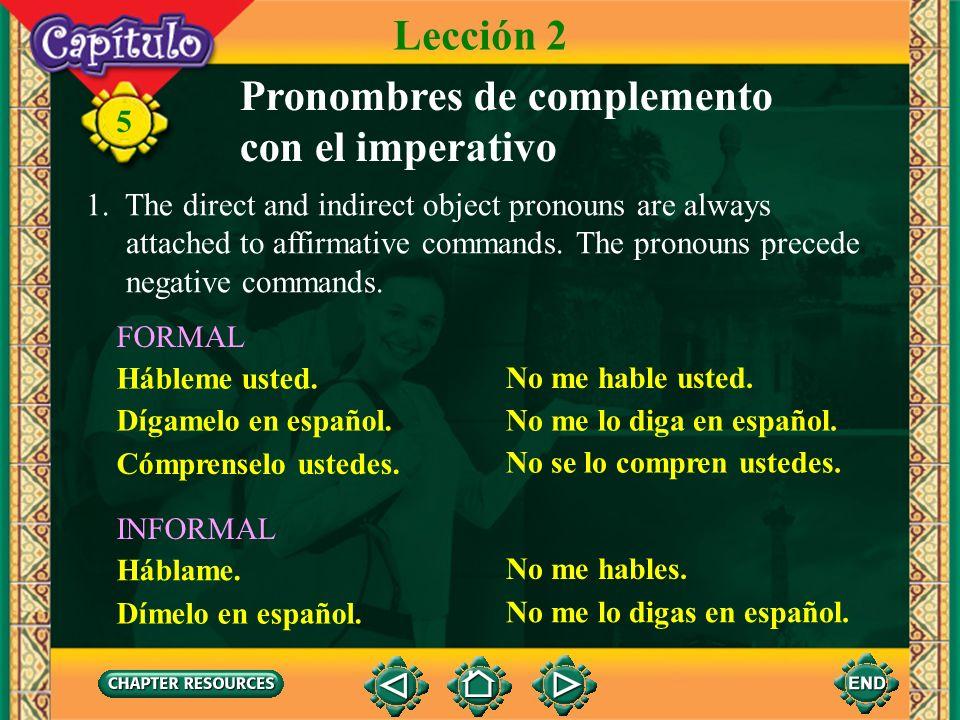 Pronombres de complemento con el imperativo