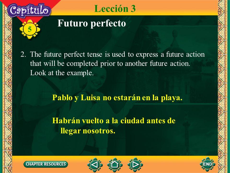 Lección 3 Futuro perfecto Pablo y Luisa no estarán en la playa.