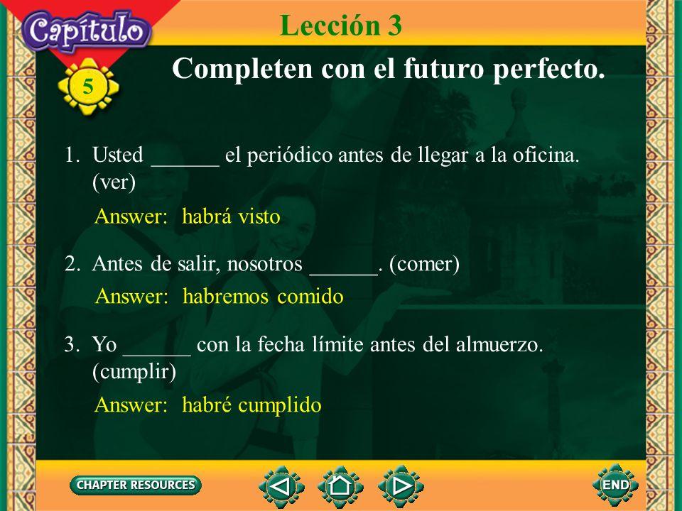 Completen con el futuro perfecto.