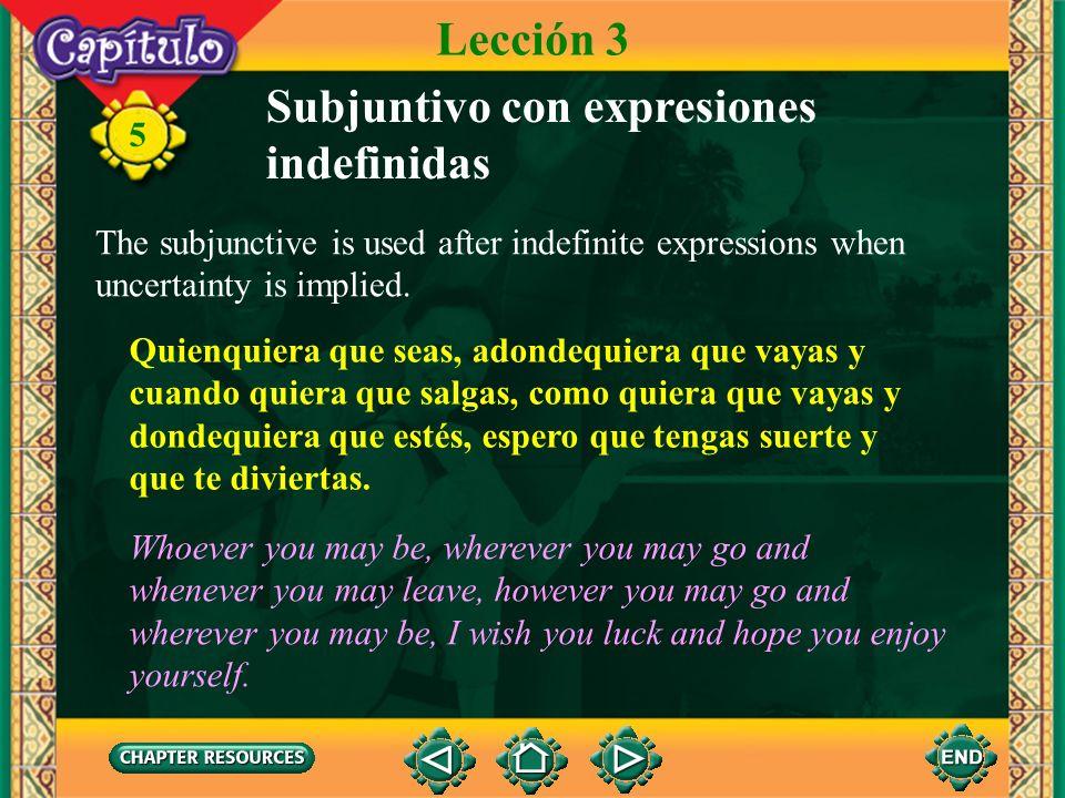 Subjuntivo con expresiones indefinidas