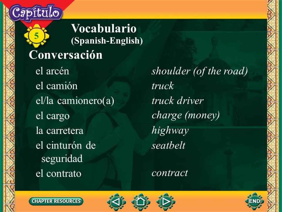 Vocabulario Conversación el arcén shoulder (of the road) el camión