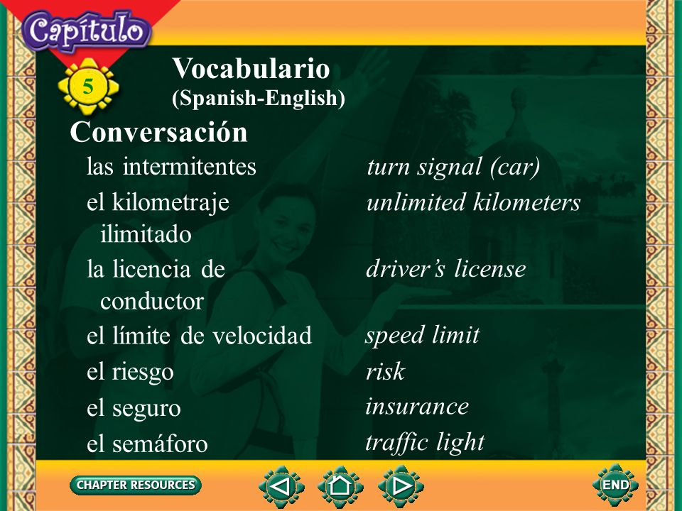 Vocabulario Conversación las intermitentes turn signal (car)