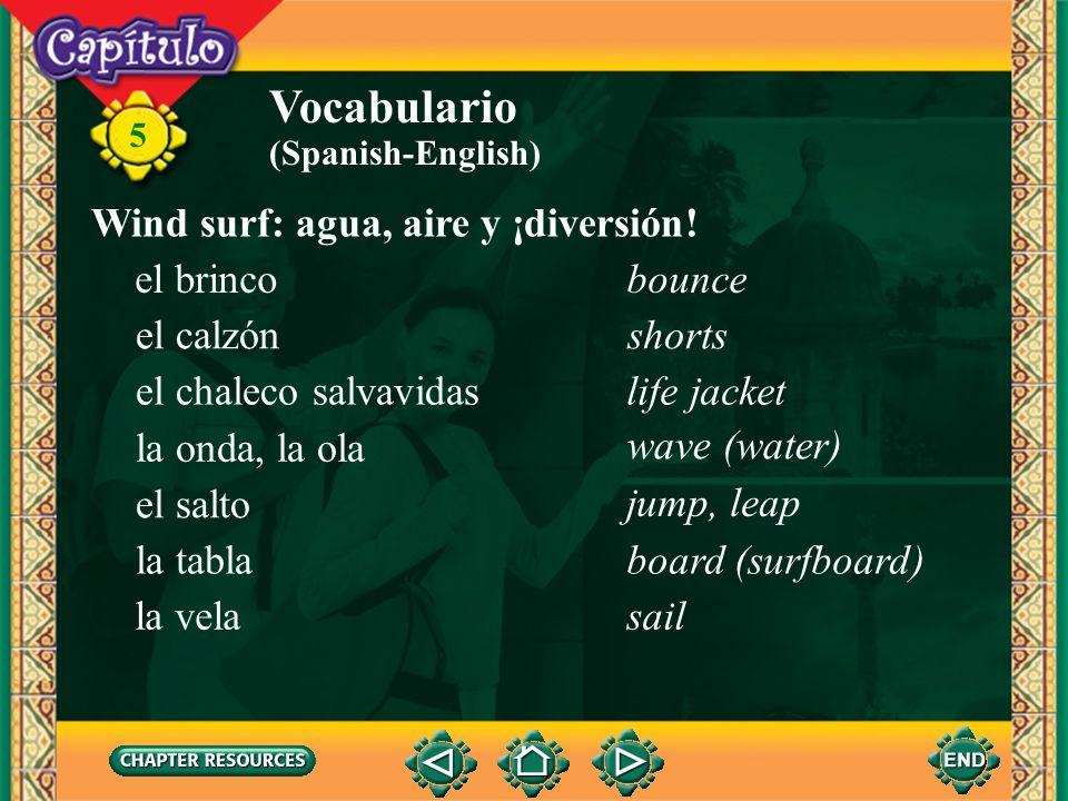Vocabulario Wind surf: agua, aire y ¡diversión! el brinco bounce