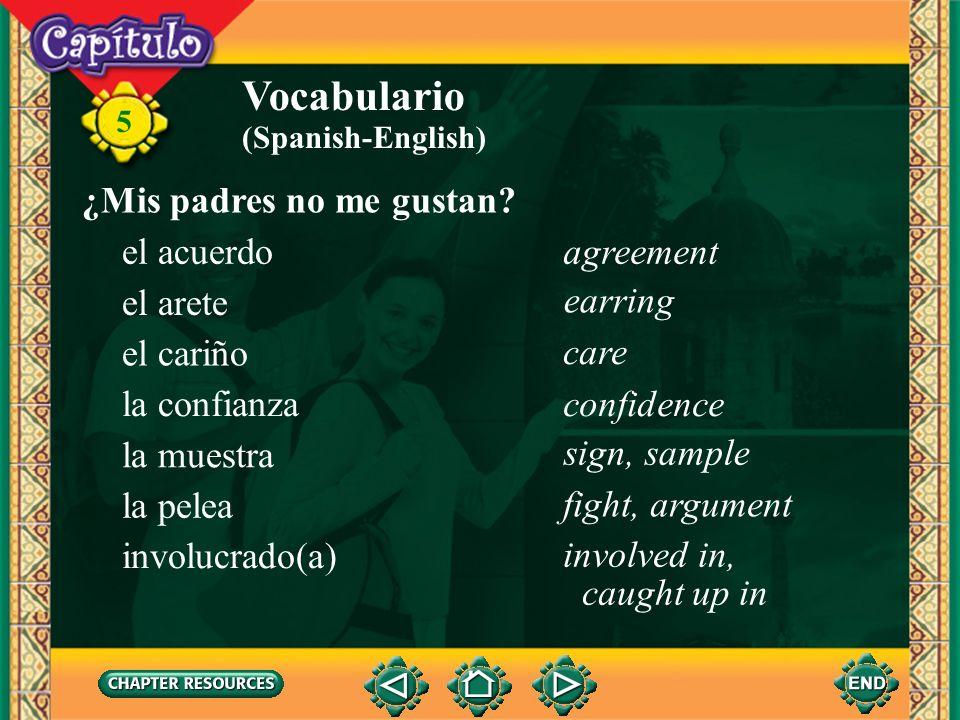 Vocabulario ¿Mis padres no me gustan el acuerdo agreement el arete
