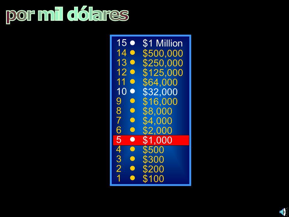 por mil dólares 15 $1 Million 14 $500,000 13 $250,000 12 $125,000 11