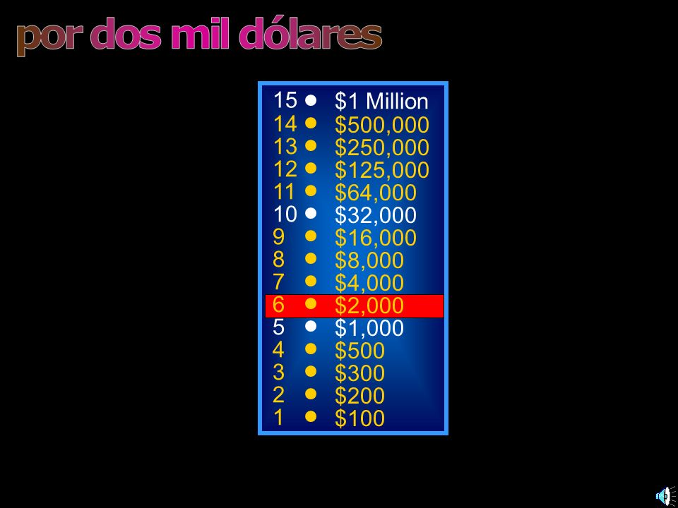 por dos mil dólares 15 $1 Million 14 $500,000 13 $250,000 12 $125,000