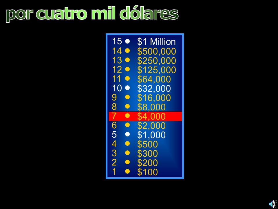 por cuatro mil dólares 15 $1 Million 14 $500,000 13 $250,000 12