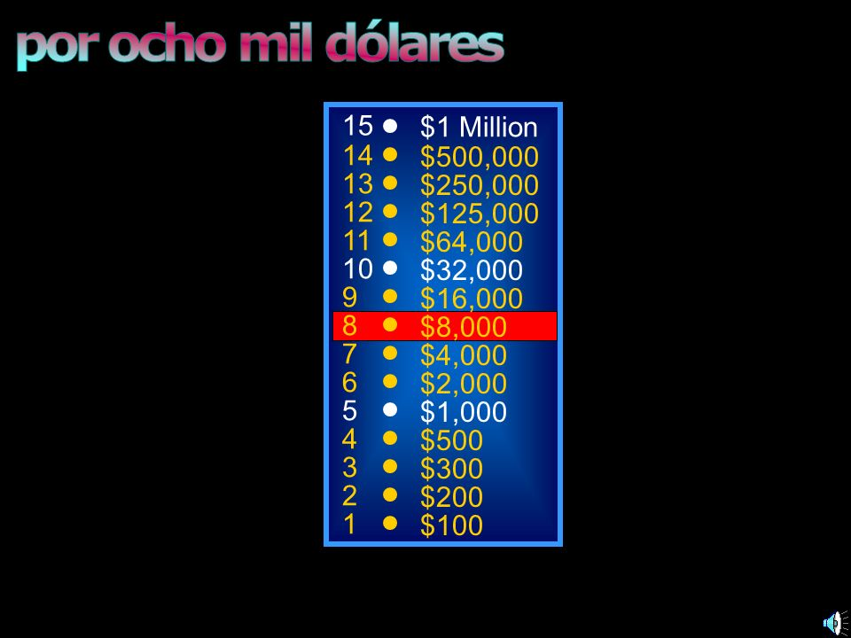 por ocho mil dólares 15 $1 Million 14 $500,000 13 $250,000 12 $125,000