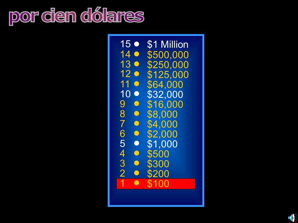 por cien dólares 15 $1 Million 14 $500,000 13 $250,000 12 $125,000 11