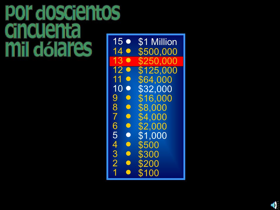 por doscientos cincuenta mil dólares 15 $1 Million 14 $500,000 13