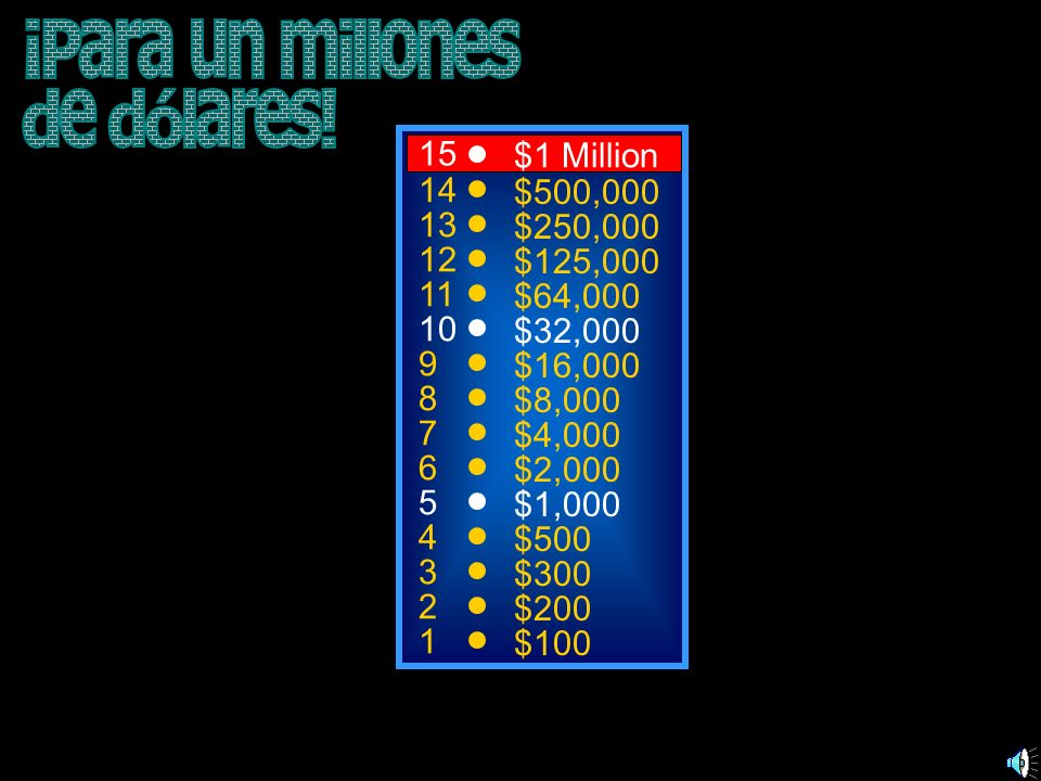¡Para un millones de dólares! 15 $1 Million 14 $500,000 13 $250,000 12