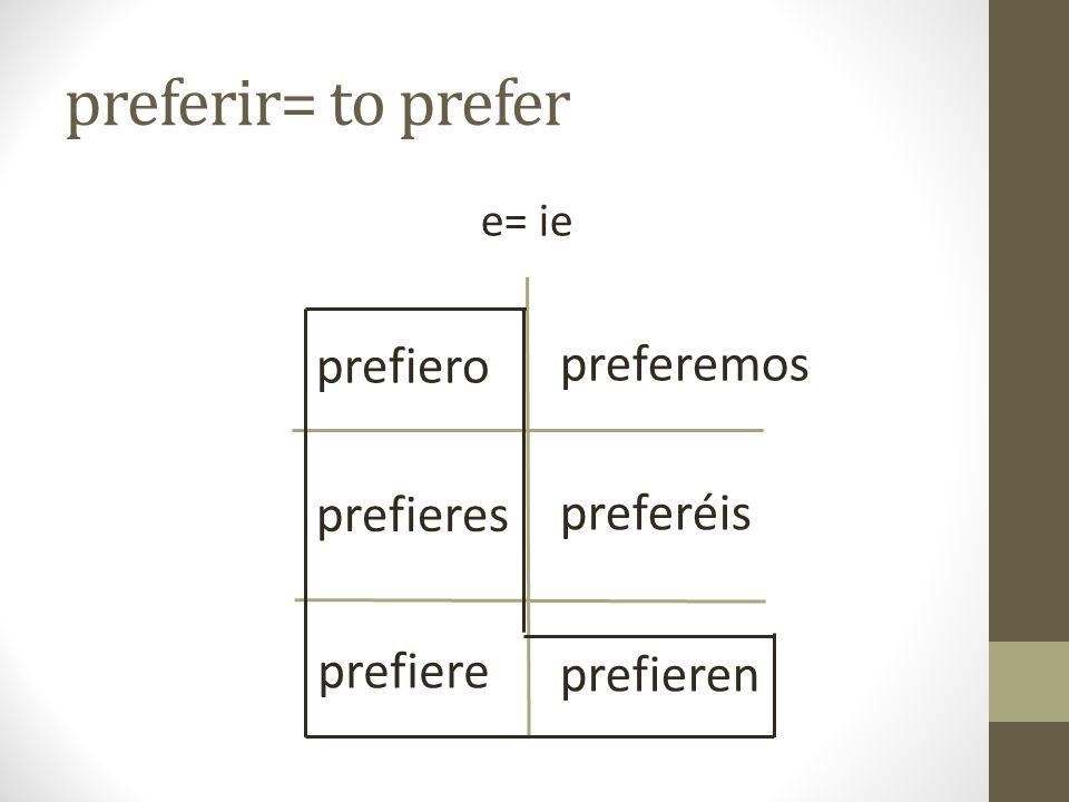 preferir= to prefer prefiero preferemos prefieres preferéis prefiere