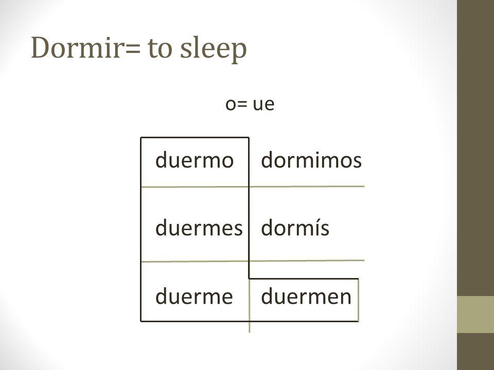 Dormir= to sleep o= ue duermo dormimos duermes dormís duerme duermen