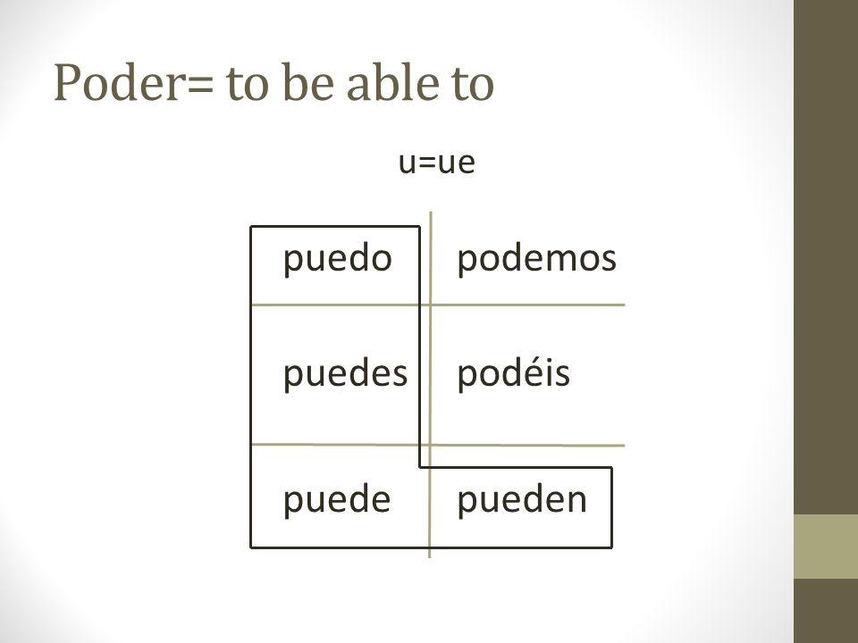 Poder= to be able to u=ue puedo podemos puedes podéis puede pueden