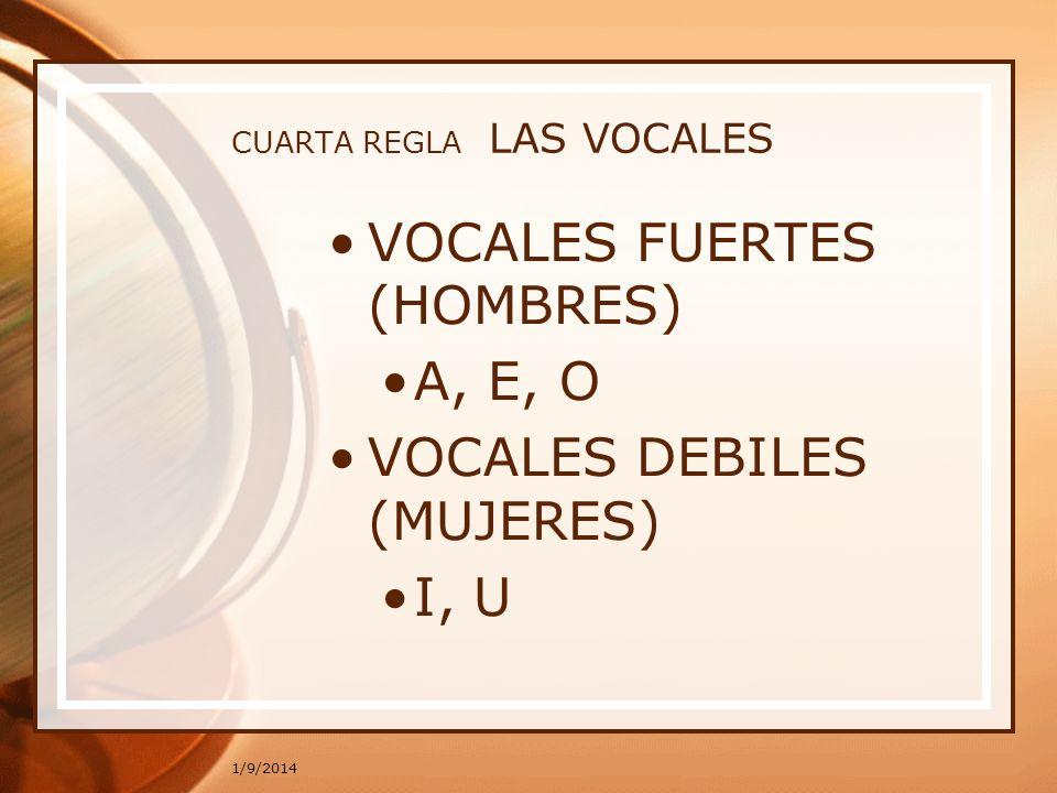 CUARTA REGLA LAS VOCALES