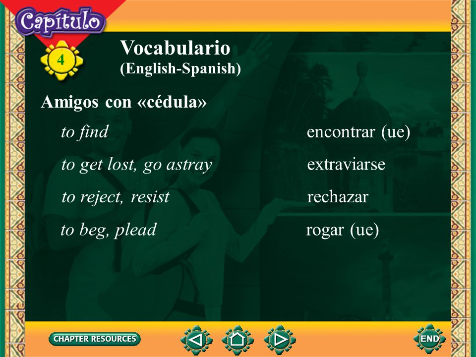 Vocabulario Amigos con «cédula» to find encontrar (ue)