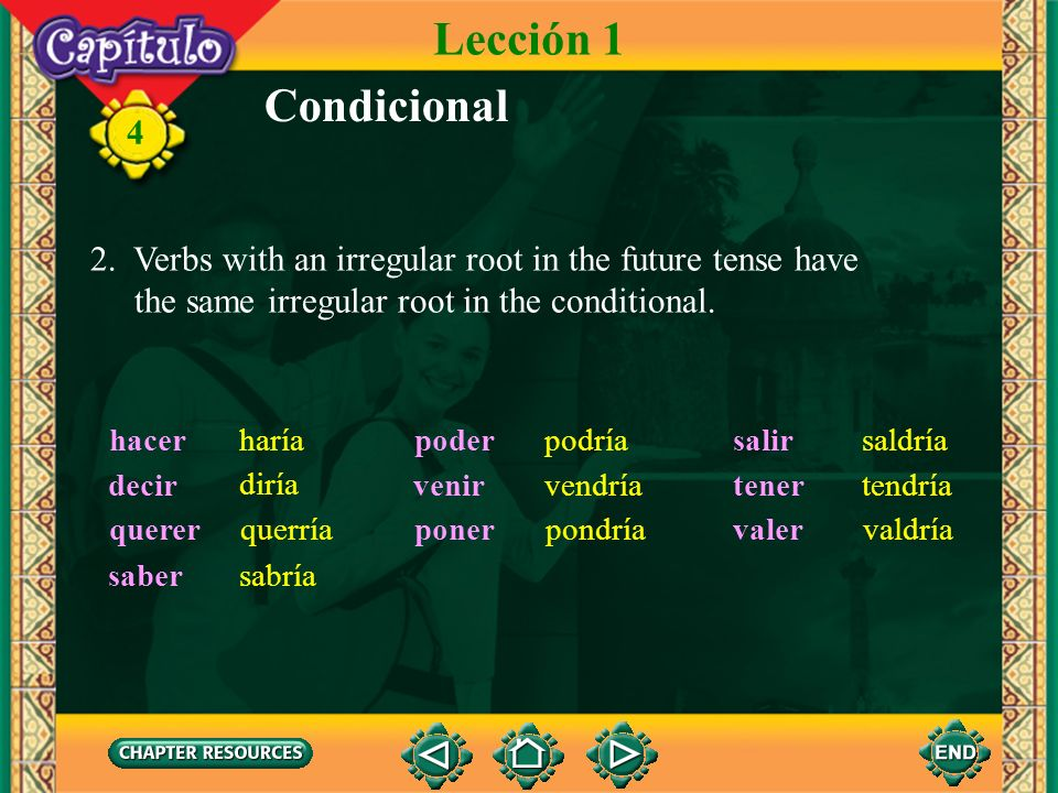 Lección 1 Condicional. 2. Verbs with an irregular root in the future tense have. the same irregular root in the conditional.