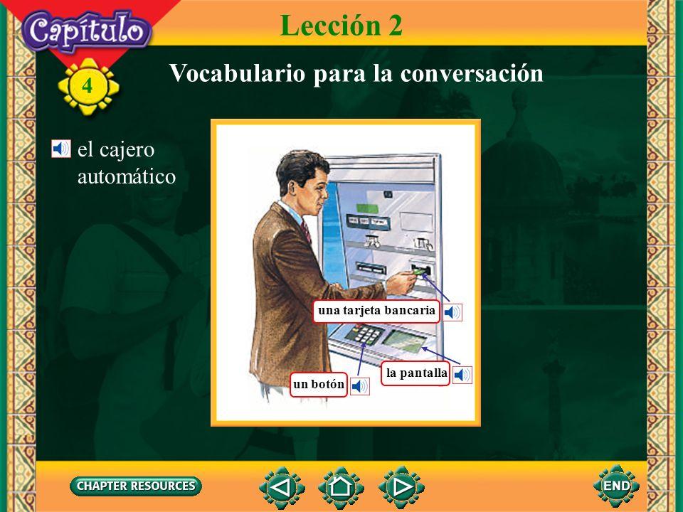 Lección 2 Vocabulario para la conversación el cajero automático