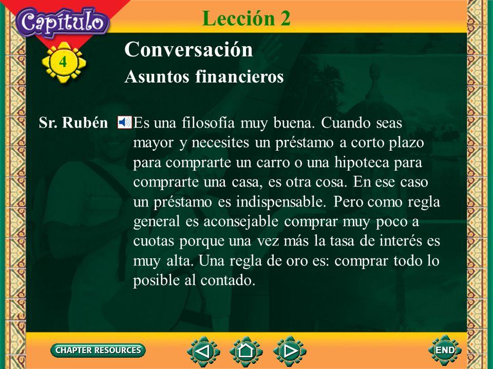 Lección 2 Conversación Asuntos financieros