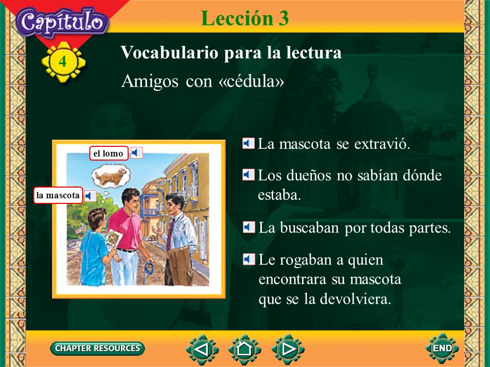 Lección 3 Vocabulario para la lectura Amigos con «cédula»