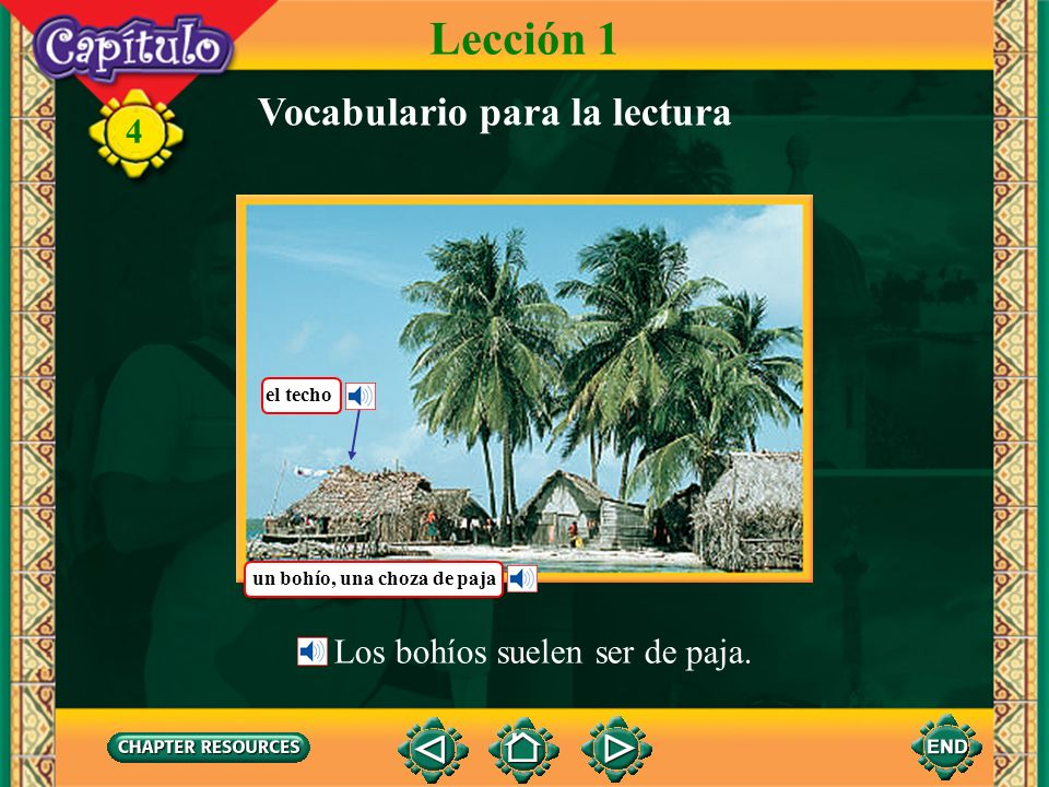 Lección 1 Vocabulario para la lectura Los bohíos suelen ser de paja.