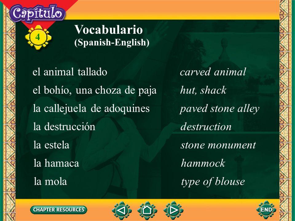 Vocabulario el animal tallado carved animal