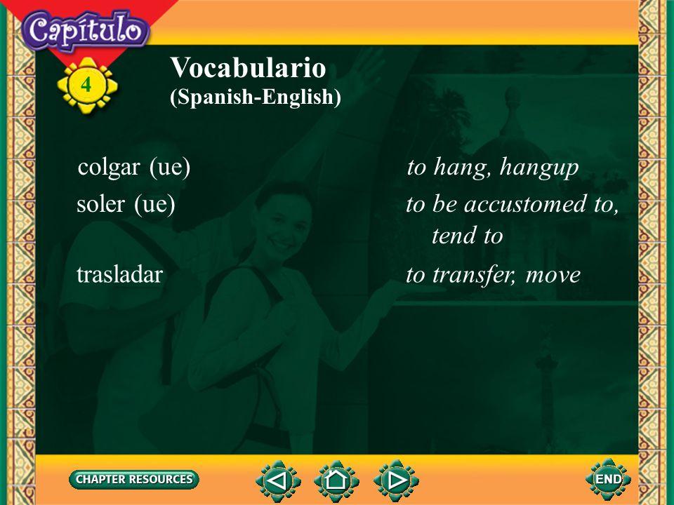Vocabulario colgar (ue) to hang, hangup soler (ue)