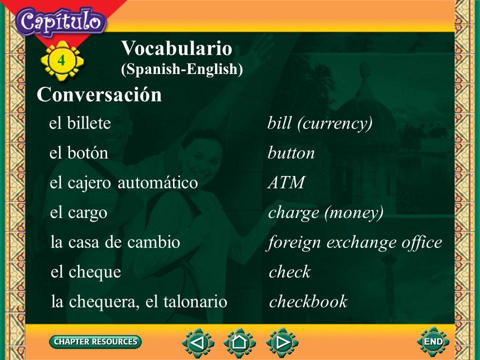Vocabulario Conversación el billete bill (currency) el botón button