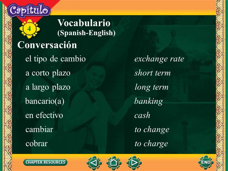 Vocabulario Conversación el tipo de cambio exchange rate a corto plazo