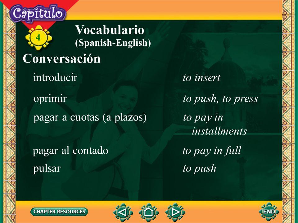 Vocabulario Conversación introducir to insert oprimir