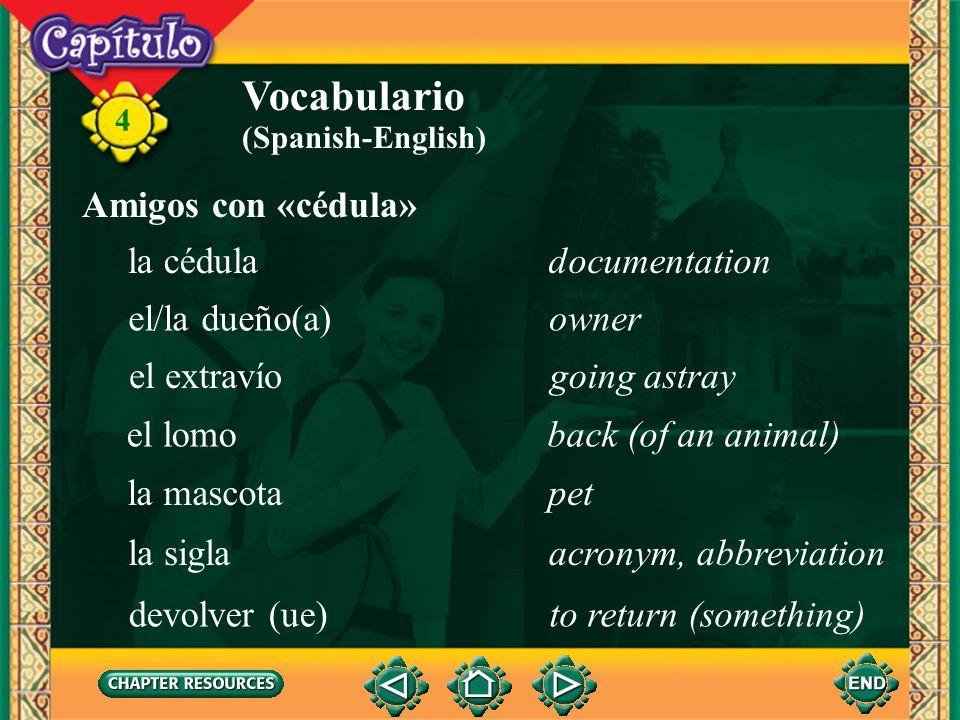 Vocabulario Amigos con «cédula» la cédula documentation el/la dueño(a)
