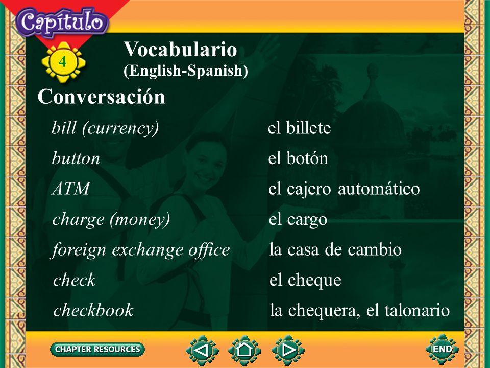 Vocabulario Conversación bill (currency) el billete button el botón