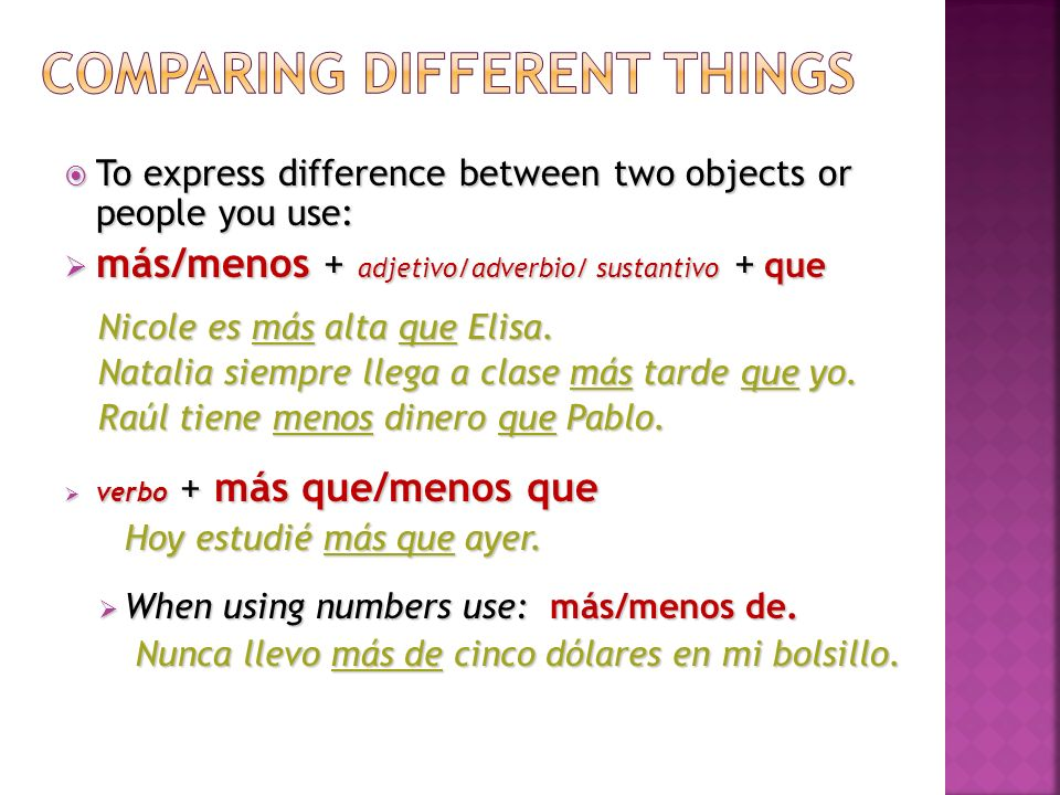 Comparing different things